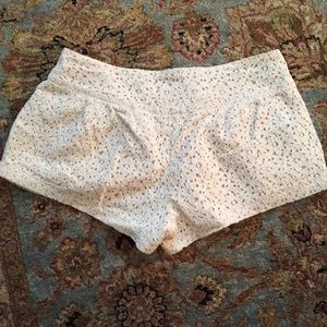 Just Ginger Shorts - Floral Cream Lace Shorts w/ Brass Buttons